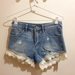 Short Shorts with Lace Trim